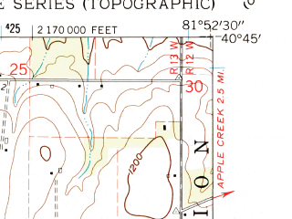 Reduced fragment of topographic map en--usgs--024k--020791--(1961)--N040-45-00_W082-00-00--N040-37-30_W081-52-30; towns and cities Holmesville