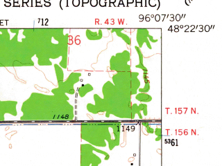 Reduced fragment of topographic map en--usgs--024k--020804--(1962)--N048-22-30_W096-15-00--N048-15-00_W096-07-30; towns and cities Holt
