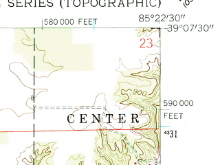 Reduced fragment of topographic map en--usgs--024k--020812--(1959)--N039-07-30_W085-30-00--N039-00-00_W085-22-30; towns and cities Holton