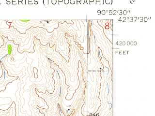 Reduced fragment of topographic map en--usgs--024k--020821--(1957)--N042-37-30_W091-00-00--N042-30-00_W090-52-30; towns and cities Bankston, Holy Cross, Rickardsville