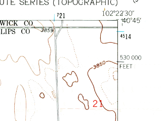 Reduced fragment of topographic map en--usgs--024k--020827--(1962)--N040-45-00_W102-30-00--N040-37-30_W102-22-30