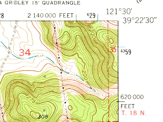 Reduced fragment of topographic map en--usgs--024k--020877--(1952)--N039-22-30_W121-37-30--N039-15-00_W121-30-00