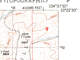 Reduced fragment of topographic map en--usgs--024k--020879--(1949)--N033-22-30_W104-45-00--N033-15-00_W104-37-30