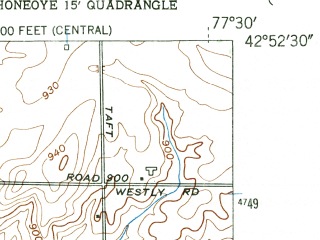 Reduced fragment of topographic map en--usgs--024k--020881--(1951)--N042-52-30_W077-37-30--N042-45-00_W077-30-00
