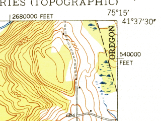 Reduced fragment of topographic map en--usgs--024k--020883--(1949)--N041-37-30_W075-22-30--N041-30-00_W075-15-00; towns and cities Bethany, Honesdale, Prompton