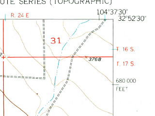 Reduced fragment of topographic map en--usgs--024k--020958--(1956)--N032-52-30_W104-45-00--N032-45-00_W104-37-30; towns and cities Hope