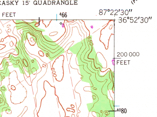 Reduced fragment of topographic map en--usgs--024k--020994--(1956)--N036-52-30_W087-30-00--N036-45-00_W087-22-30; towns and cities Hopkinsville