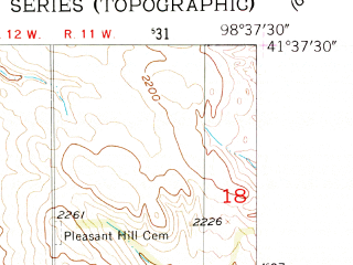 Reduced fragment of topographic map en--usgs--024k--021009--(1954)--N041-37-30_W098-45-00--N041-30-00_W098-37-30