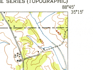 Reduced fragment of topographic map en--usgs--024k--021038--(1951)--N035-15-00_W088-52-30--N035-07-30_W088-45-00; towns and cities Hornsby