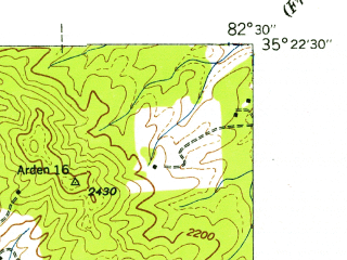Reduced fragment of topographic map en--usgs--024k--021094--(1942)--N035-22-30_W082-37-30--N035-15-00_W082-30-00; towns and cities Etowah, Laurel Park, Mountain Home