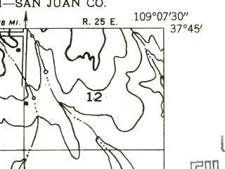 Reduced fragment of topographic map en--usgs--024k--021116--(1955)--N037-45-00_W109-15-00--N037-37-30_W109-07-30