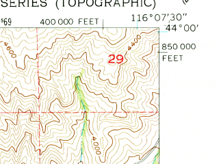Reduced fragment of topographic map en--usgs--024k--021126--(1957)--N044-00-00_W116-15-00--N043-52-30_W116-07-30; towns and cities Horseshoe Bend