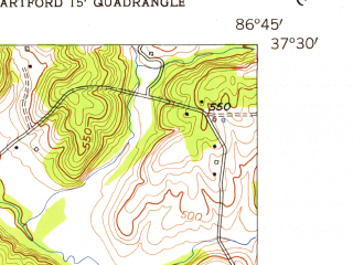 Reduced fragment of topographic map en--usgs--024k--021160--(1954)--N037-30-00_W086-52-30--N037-22-30_W086-45-00