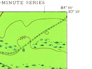 Reduced fragment of topographic map en--usgs--024k--021167--(1945)--N030-30-00_W084-52-30--N030-22-30_W084-45-00