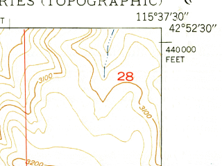 Reduced fragment of topographic map en--usgs--024k--021185--(1949)--N042-52-30_W115-45-00--N042-45-00_W115-37-30
