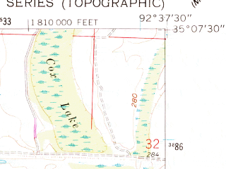 Reduced fragment of topographic map en--usgs--024k--021233--(1961)--N035-07-30_W092-45-00--N035-00-00_W092-37-30; towns and cities Houston