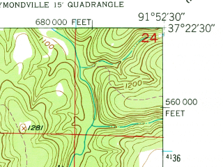 Reduced fragment of topographic map en--usgs--024k--021234--(1951)--N037-22-30_W092-00-00--N037-15-00_W091-52-30; towns and cities Houston