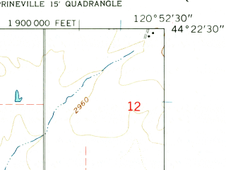 Reduced fragment of topographic map en--usgs--024k--021239--(1962)--N044-22-30_W121-00-00--N044-15-00_W120-52-30
