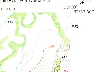 Reduced fragment of topographic map en--usgs--024k--021280--(1958)--N033-37-30_W096-37-30--N033-30-00_W096-30-00; towns and cities Sherman, Howe, Luella