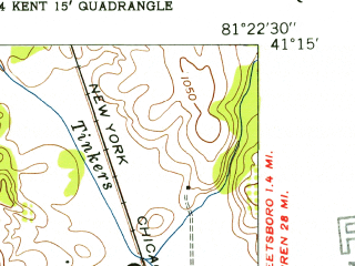 Reduced fragment of topographic map en--usgs--024k--021363--(1953)--N041-15-00_W081-30-00--N041-07-30_W081-22-30; towns and cities Stow, Hudson, Munroe Falls, Silver Lake