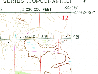 Reduced fragment of topographic map en--usgs--024k--021364--(1962)--N041-52-30_W084-22-30--N041-45-00_W084-15-00; towns and cities Hudson