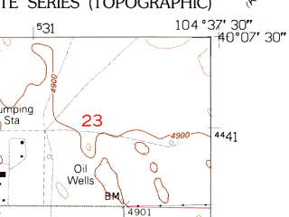 Reduced fragment of topographic map en--usgs--024k--021366--(1949)--N040-07-30_W104-45-00--N040-00-00_W104-37-30; towns and cities Hudson, Lochbuie