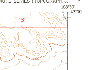 Reduced fragment of topographic map en--usgs--024k--021367--(1952)--N043-00-00_W108-37-30--N042-52-30_W108-30-00; towns and cities Hudson