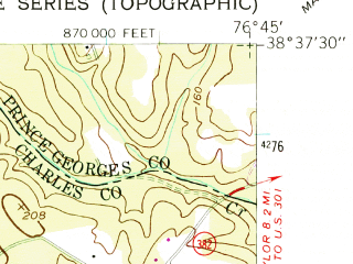 Reduced fragment of topographic map en--usgs--024k--021402--(1956)--N038-37-30_W076-52-30--N038-30-00_W076-45-00; towns and cities Hughesville