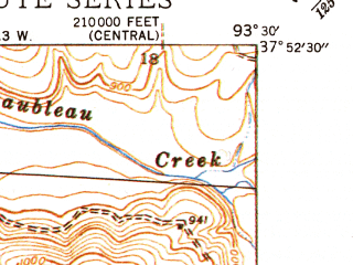 Reduced fragment of topographic map en--usgs--024k--021431--(1944)--N037-52-30_W093-37-30--N037-45-00_W093-30-00; towns and cities Flemington, Humansville
