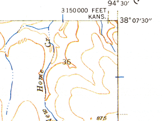 Reduced fragment of topographic map en--usgs--024k--021455--(1940)--N038-07-30_W094-37-30--N038-00-00_W094-30-00; towns and cities Hume