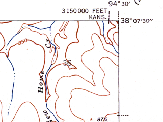 Reduced fragment of topographic map en--usgs--024k--021455--(1942)--N038-07-30_W094-37-30--N038-00-00_W094-30-00; towns and cities Hume