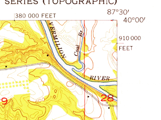 Reduced fragment of topographic map en--usgs--024k--021473--(1955)--N040-00-00_W087-37-30--N039-52-30_W087-30-00