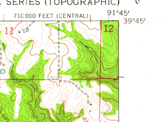 Reduced fragment of topographic map en--usgs--024k--021482--(1959)--N039-45-00_W091-52-30--N039-37-30_W091-45-00; towns and cities Hunnewell