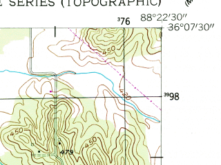 Reduced fragment of topographic map en--usgs--024k--021522--(1955)--N036-07-30_W088-30-00--N036-00-00_W088-22-30; towns and cities Huntingdon