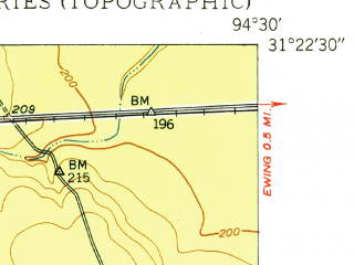 Reduced fragment of topographic map en--usgs--024k--021531--(1950)--N031-22-30_W094-37-30--N031-15-00_W094-30-00; towns and cities Huntington