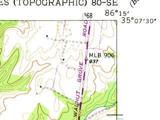 Reduced fragment of topographic map en--usgs--024k--021533--(1947)--N035-07-30_W086-22-30--N035-00-00_W086-15-00; towns and cities Huntland