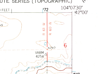 Reduced fragment of topographic map en--usgs--024k--021535--(1960)--N042-00-00_W104-15-00--N041-52-30_W104-07-30