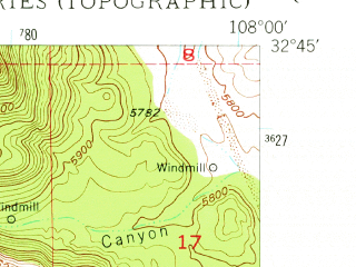 Reduced fragment of topographic map en--usgs--024k--021560--(1948)--N032-45-00_W108-07-30--N032-37-30_W108-00-00