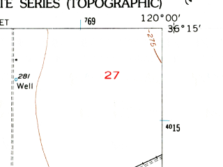 Reduced fragment of topographic map en--usgs--024k--021569--(1956)--N036-15-00_W120-07-30--N036-07-30_W120-00-00; towns and cities Huron