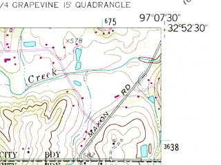 Reduced fragment of topographic map en--usgs--024k--021590--(1959)--N032-52-30_W097-15-00--N032-45-00_W097-07-30; towns and cities Hurst, North Richland Hills, Bedford, Richland Hills