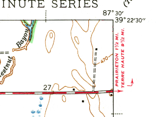 Reduced fragment of topographic map en--usgs--024k--021612--(1942)--N039-22-30_W087-37-30--N039-15-00_W087-30-00