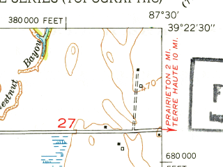Reduced fragment of topographic map en--usgs--024k--021612--(1952)--N039-22-30_W087-37-30--N039-15-00_W087-30-00