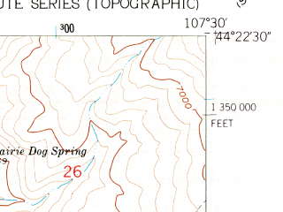 Reduced fragment of topographic map en--usgs--024k--021625--(1960)--N044-22-30_W107-37-30--N044-15-00_W107-30-00