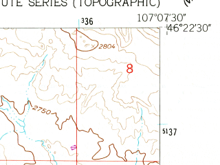 Reduced fragment of topographic map en--usgs--024k--021648--(1960)--N046-22-30_W107-15-00--N046-15-00_W107-07-30; towns and cities Hysham
