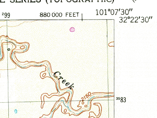 Reduced fragment of topographic map en--usgs--024k--021655--(1951)--N032-22-30_W101-15-00--N032-15-00_W101-07-30