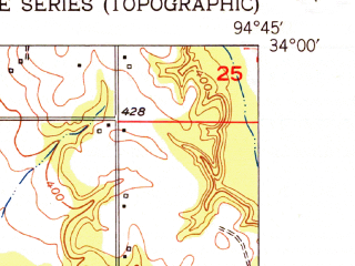 Reduced fragment of topographic map en--usgs--024k--021679--(1951)--N034-00-00_W094-52-30--N033-52-30_W094-45-00; towns and cities Idabel
