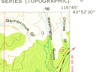 Reduced fragment of topographic map en--usgs--024k--021681--(1957)--N043-52-30_W115-52-30--N043-45-00_W115-45-00; towns and cities Idaho City