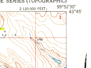 Reduced fragment of topographic map en--usgs--024k--021695--(1951)--N043-45-00_W100-00-00--N043-37-30_W099-52-30
