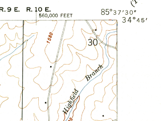 Reduced fragment of topographic map en--usgs--024k--021697--(1947)--N034-45-00_W085-45-00--N034-37-30_W085-37-30; towns and cities Henagar, Ider