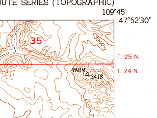 Reduced fragment of topographic map en--usgs--024k--021710--(1954)--N047-52-30_W109-52-30--N047-45-00_W109-45-00